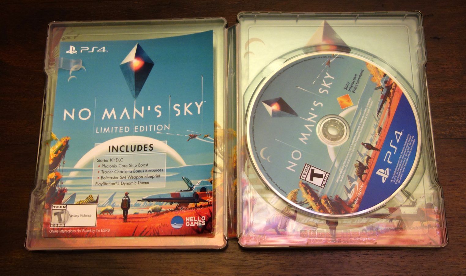 'No Man's Sky - Limited Edition PS4 steelbook, disc, and Starter Kit DLC